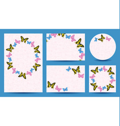 Templates with butterflies for wedding vector