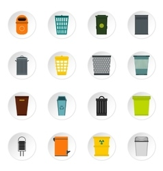 Trash can and recycle bin icons set flat style vector image