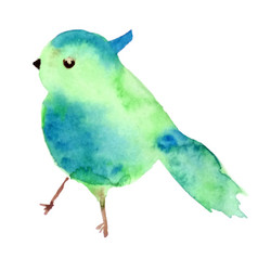 watercolor bird shape texture blue and vector image