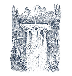 waterfall in the background of the mountains vector image