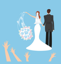 wedding couple bride throws her wedding bouquet vector image