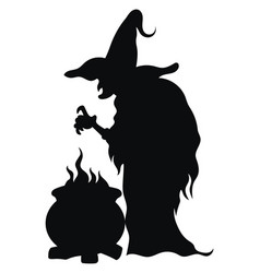 witch preparing a magic potion black silhouette vector image