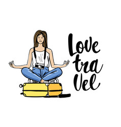 woman sitting on suitcase in yoga pose travel vector image