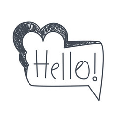 word hello hand drawn comic speech bubble vector image vector image