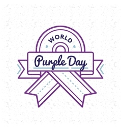 World Purple day greeting emblem vector