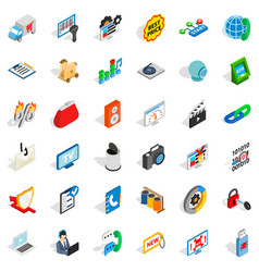 Www spam icons set isometric style vector