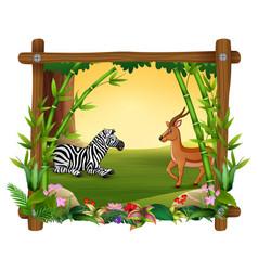 zebra dan deer in forest frame vector image