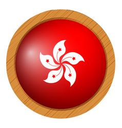 flag of hongkong on round frame vector image vector image
