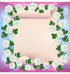 Greeting or invitation card with paper and roses vector image vector image