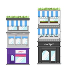 Multi-storey building with roof terrace and shop vector image vector image
