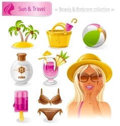 Beauty cosmetics icon set with beautiful young vector image