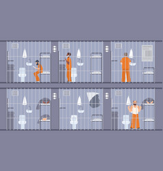colorful featuring prisoners behind vector image vector image