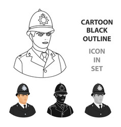 english policeman icon in cartoon style isolated vector image