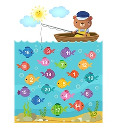 Learn counting number with cute bear vector image vector image