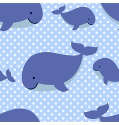Seamless pattern with cute cartoon whales on blue vector image