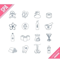 Spa and healthcare outline icons set vector image vector image