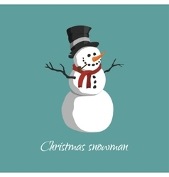 Christmas snowman in a top hat vector image vector image