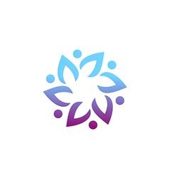 circle group leaf beauty logo vector image vector image