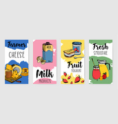 Colorful dairy products vertical advertising flyer vector