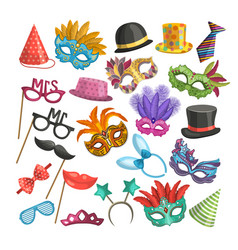 different elements for carnival funny masks for vector image vector image