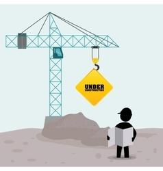 foreman worker construction concrete blueprint vector image
