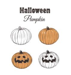 halloween pumpkin sketch set vector image