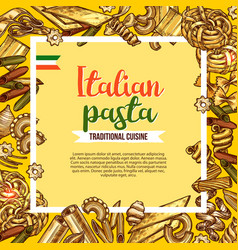 Italian pasta poster with sketch frame of macaroni vector