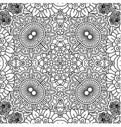 linear black and white floral pattern vector image vector image