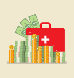medical bag with money vector image vector image