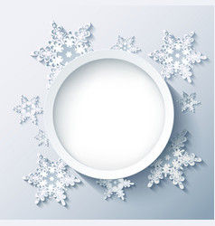 Winter grey background wallpaper with 3d snowflake vector image