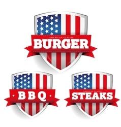Burger steaks bbq vintage shield with usa flag vector