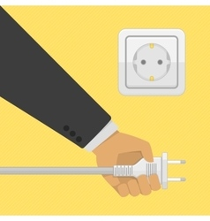 Electric power plug holding in hand vector image vector image