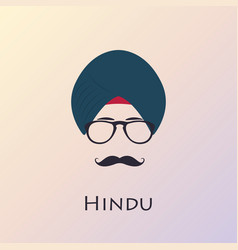 indian man with black mustache and glasses vector image vector image