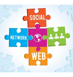 puzzles of the social network vector image vector image