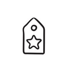 tag with star sketch icon vector image
