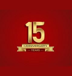 15 years anniversary golden design color vector