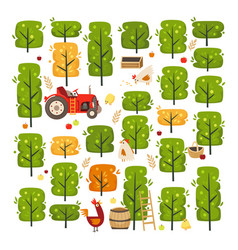 a scene with apple garden trees and roosters vector image