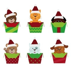 Animals christmas vector