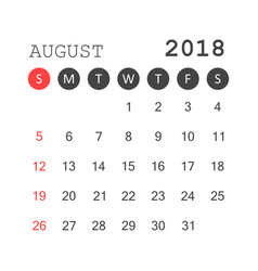 august 2018 calendar calendar planner design vector image