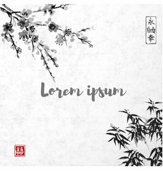 bamboo leaves and sakura blossom vector image