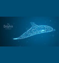 blue geometric dolphin vector image