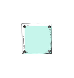 Blue square paper piece pinned four metal pins vector