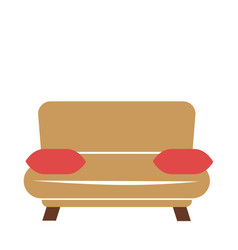 Brown couch with pillows vector