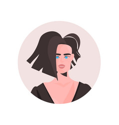 Brunette young woman profile avatar beautiful girl vector