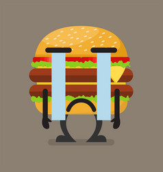 Burger character crying vector