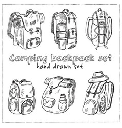 Camping backpack hand drawn doodle setisolated vector