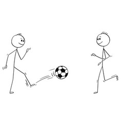 cartoon two football or soccer players playing vector image
