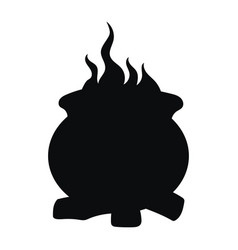 cauldron with a magic potion black silhouette vector image