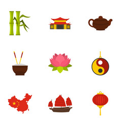 Chinese icon set flat style vector