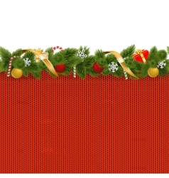 Christmas Border with Knitted Pattern vector image vector image